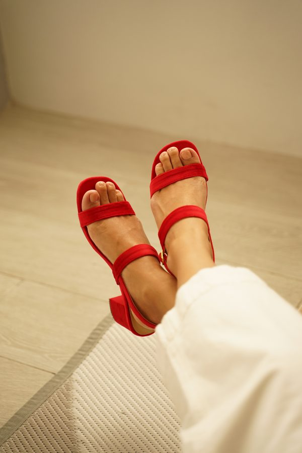 Red Strappy Chunky Heels