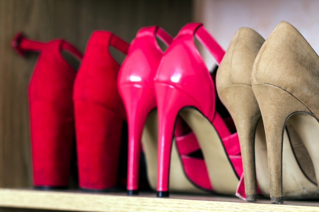 Heels on a shoe rack