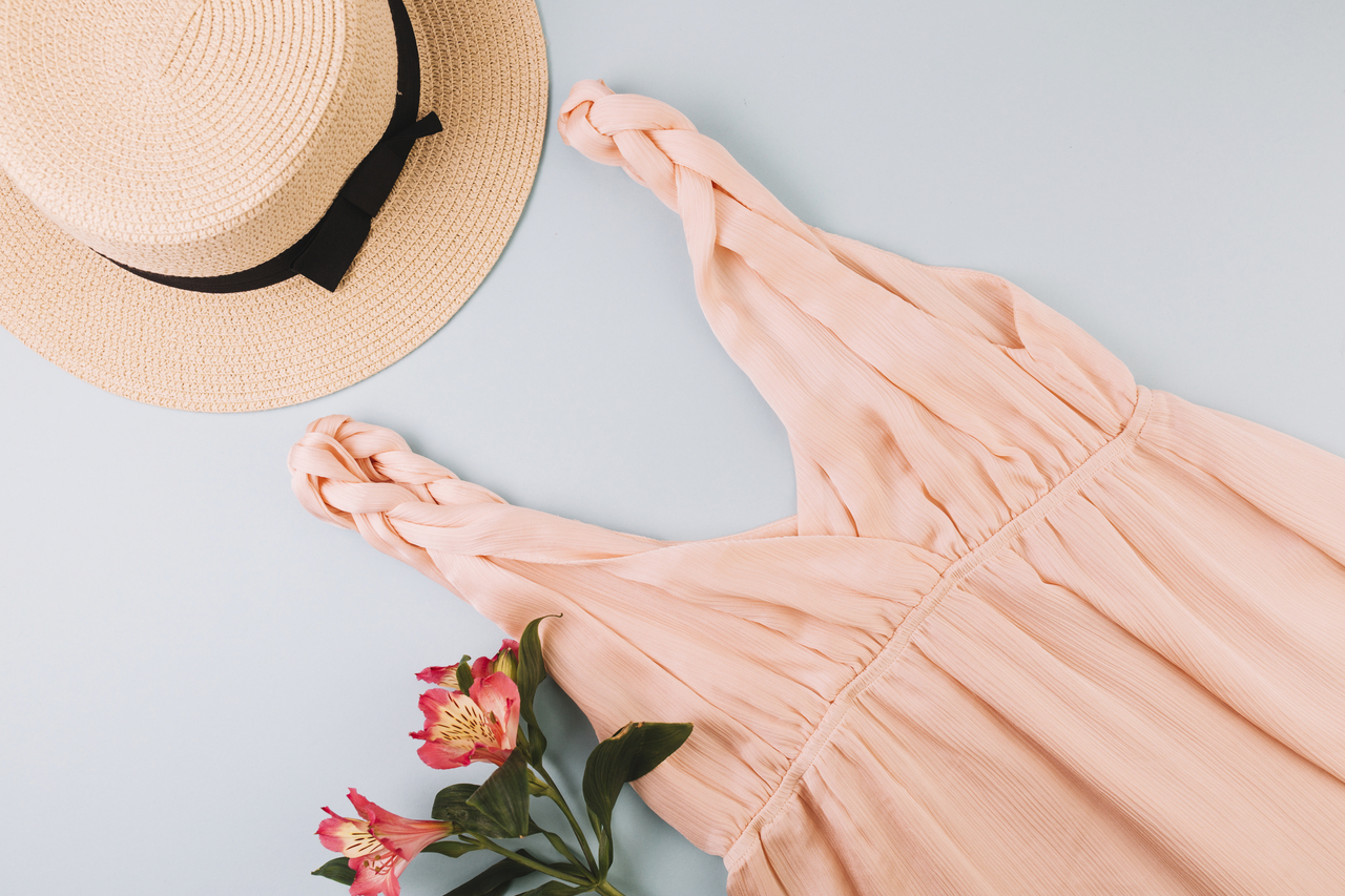 A summer dress with a hat