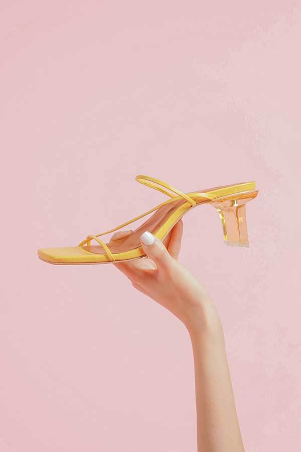 Tutum's Belle Yellow Glass Heels